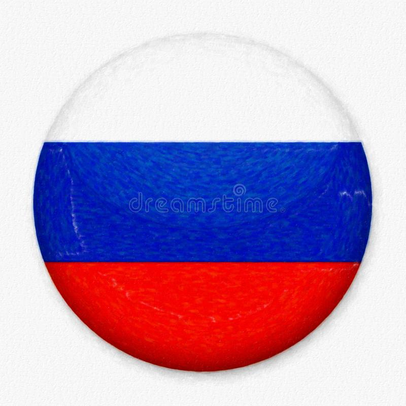 Watercolor Flag of Russia in the form of a round button stock photography