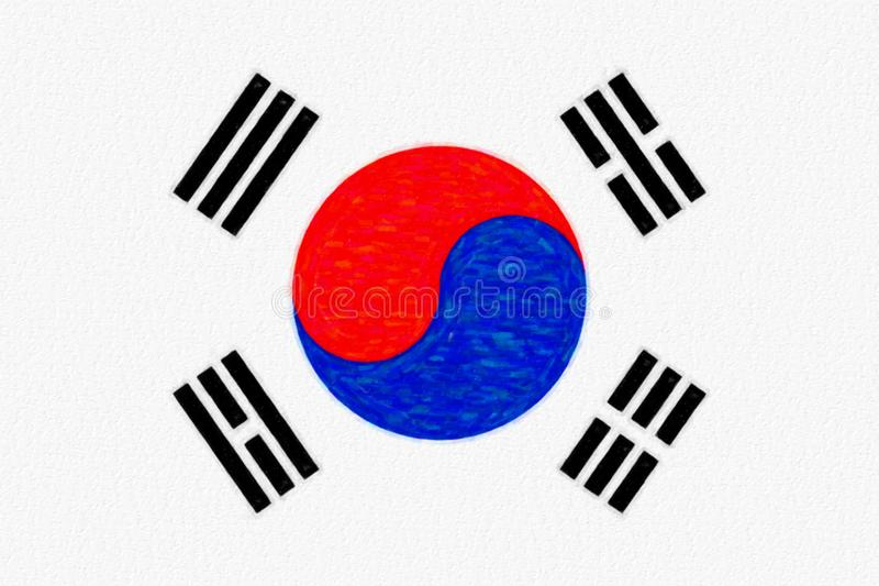Watercolor flag of South Korea, paper texture. royalty free illustration