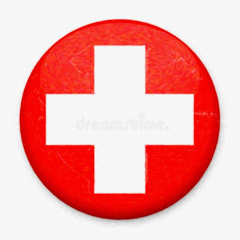 Watercolor Flag of Switzerland in the form of a round button stock photo