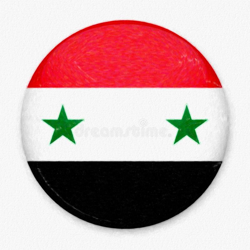 Watercolor Flag of Syria in the form of a round button royalty free stock photography