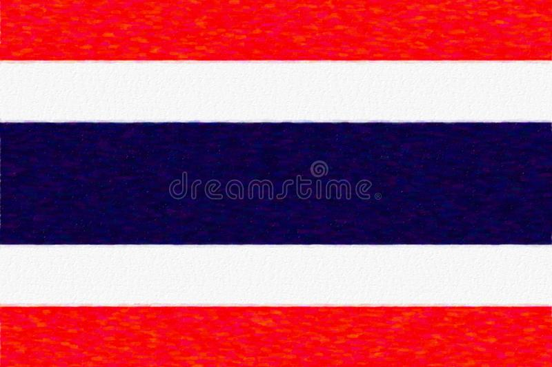 Watercolor flag of Thailand, paper texture. royalty free illustration