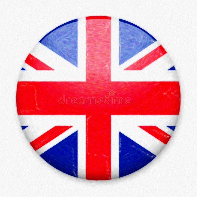 Watercolor Flag of UK in the form of a round button royalty free stock photos