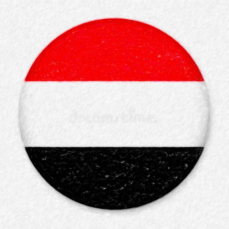 Watercolor Flag of Yemen in the form of a round button royalty free stock images