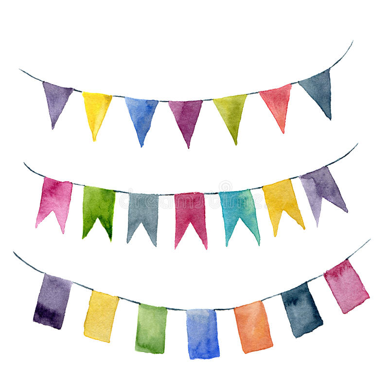 Watercolor flags garlands set. Party, kids party or wedding decor elements isolated on white background. For design, prints or stock illustration
