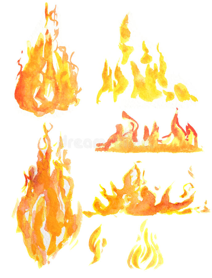 Watercolor flame set. Different kids of flames and fire. Fire element. Light, heat and danger stock illustration