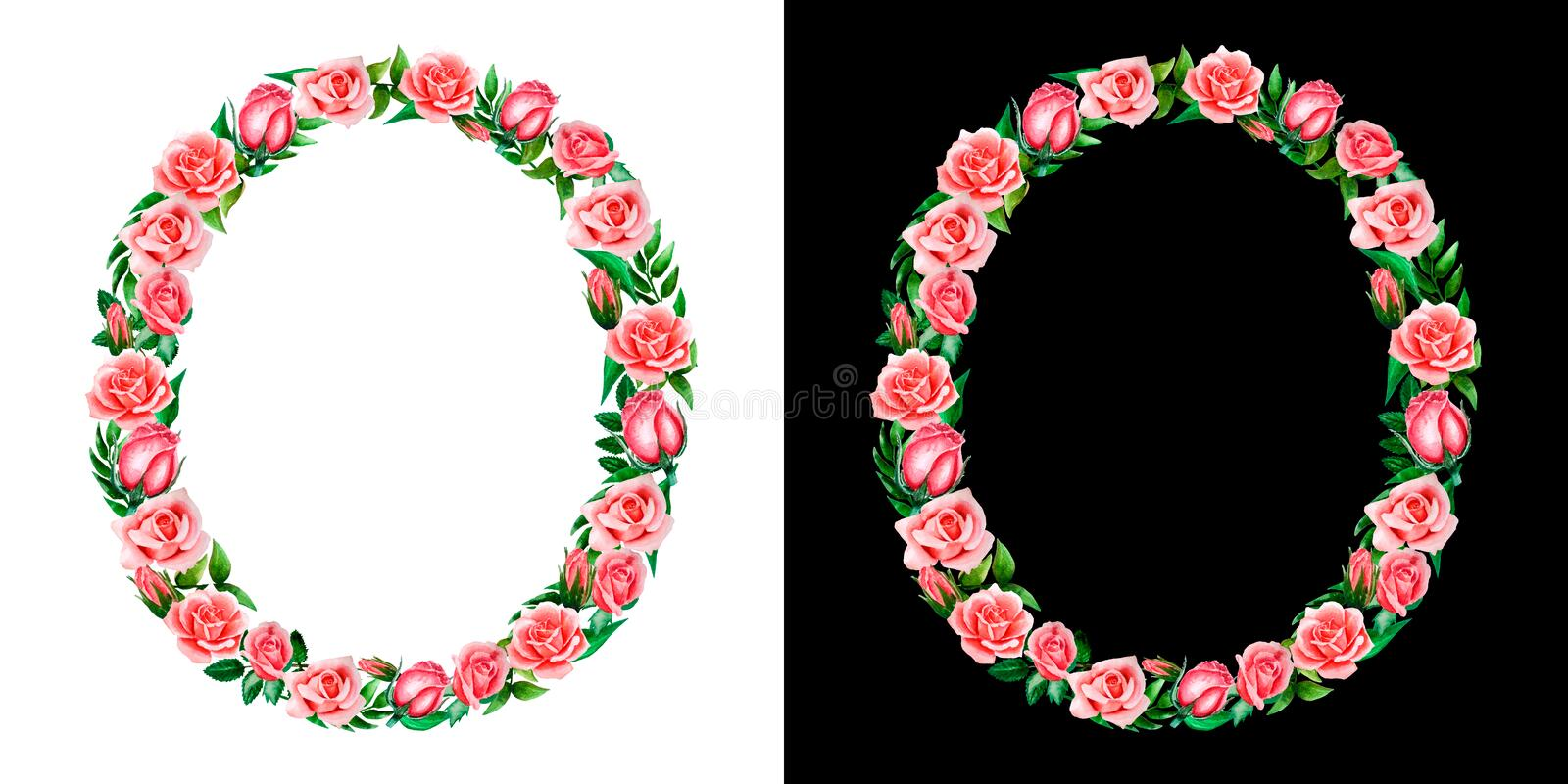 Watercolor floral alphabet of roses, Monogram, title letter O isolated on black and white background. royalty free stock photos