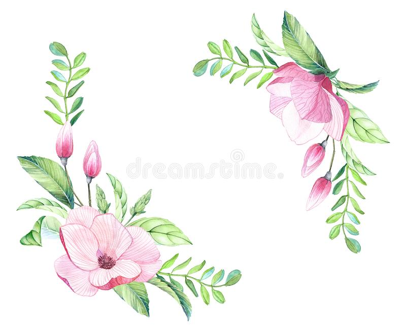 Watercolor floral arrangement of big magnolia flowers, buds tropical leaves, colorful pink green color, exotic wedding occasion de royalty free illustration