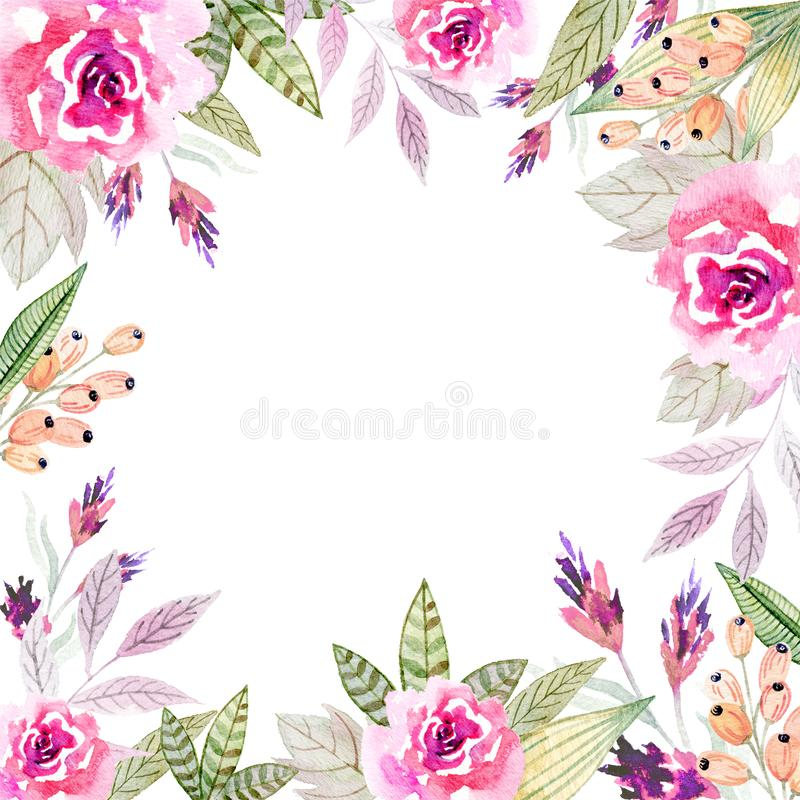 Watercolor floral arrangements with leaves, herbs, flowers. stock illustration