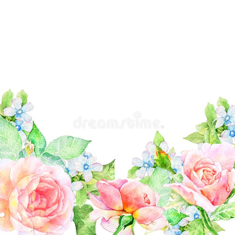 Watercolor floral arrangements with leaves, herbs, flowers. vector illustration