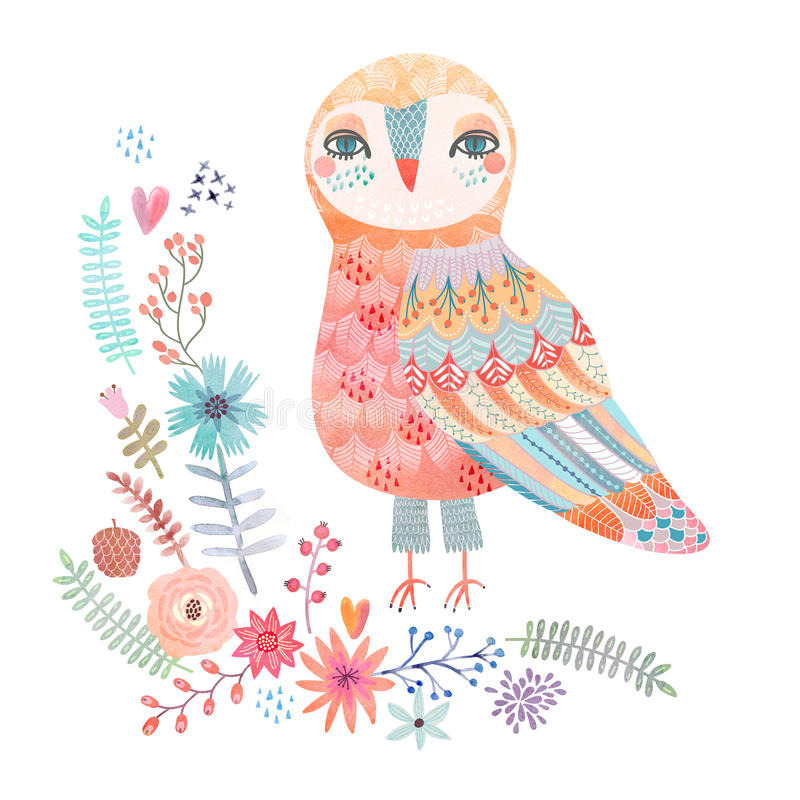 Watercolor floral background with a beautiful owl stock illustration