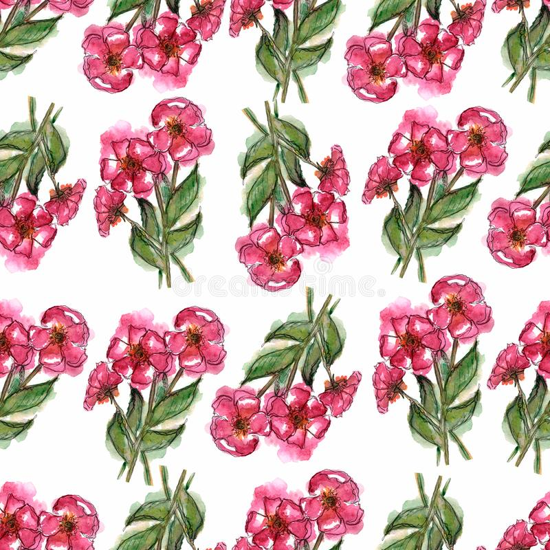 Watercolor floral background. Greeting card. Wedding invitation template. Floral card. Pink spring flowers.Seamless pattern. stock illustration