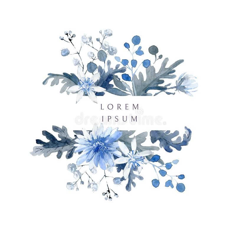 Watercolor floral background. Horizontal frame with black and blue plants stock photography
