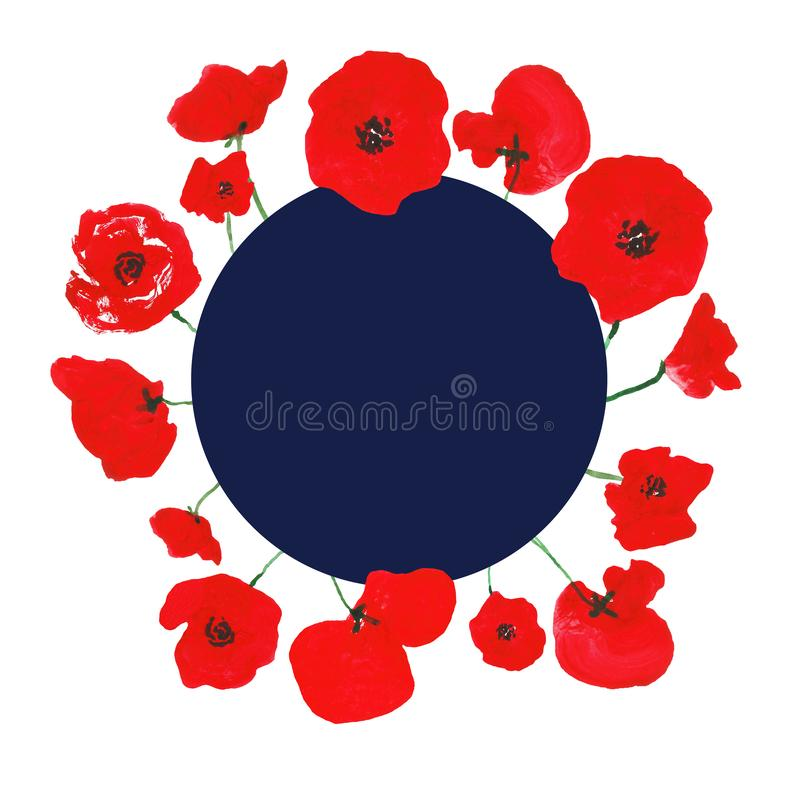 Watercolor floral banner with hand painted red poppies on white background. Round frame template with space for text. memorial day stock photo