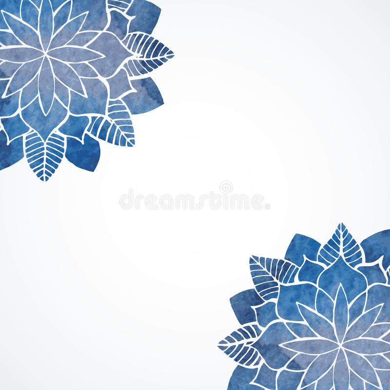 Watercolor floral blue pattern stock illustration