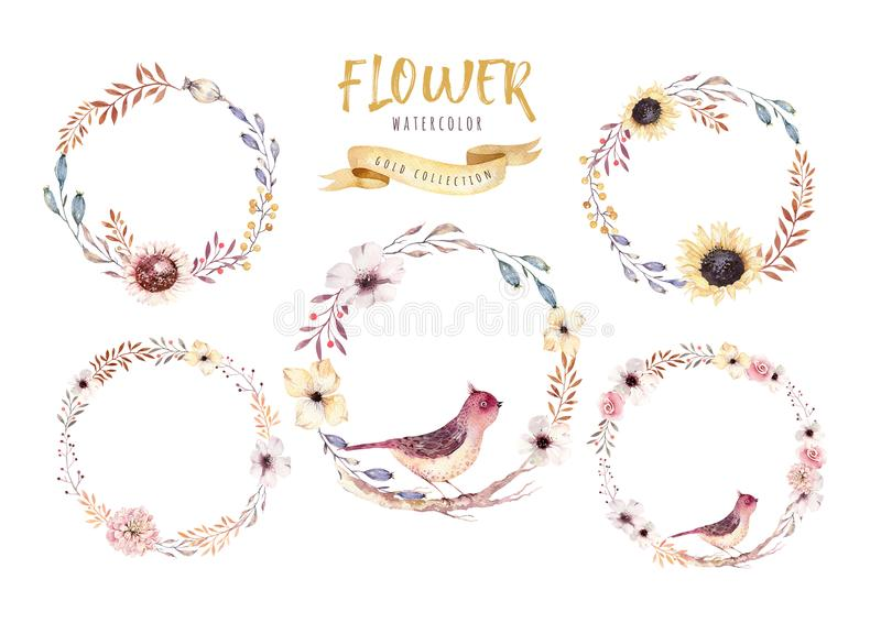 Watercolor floral boho flower wreath. Watercolour natural frame: leaves, feather and birds. Isolated on white background vector illustration