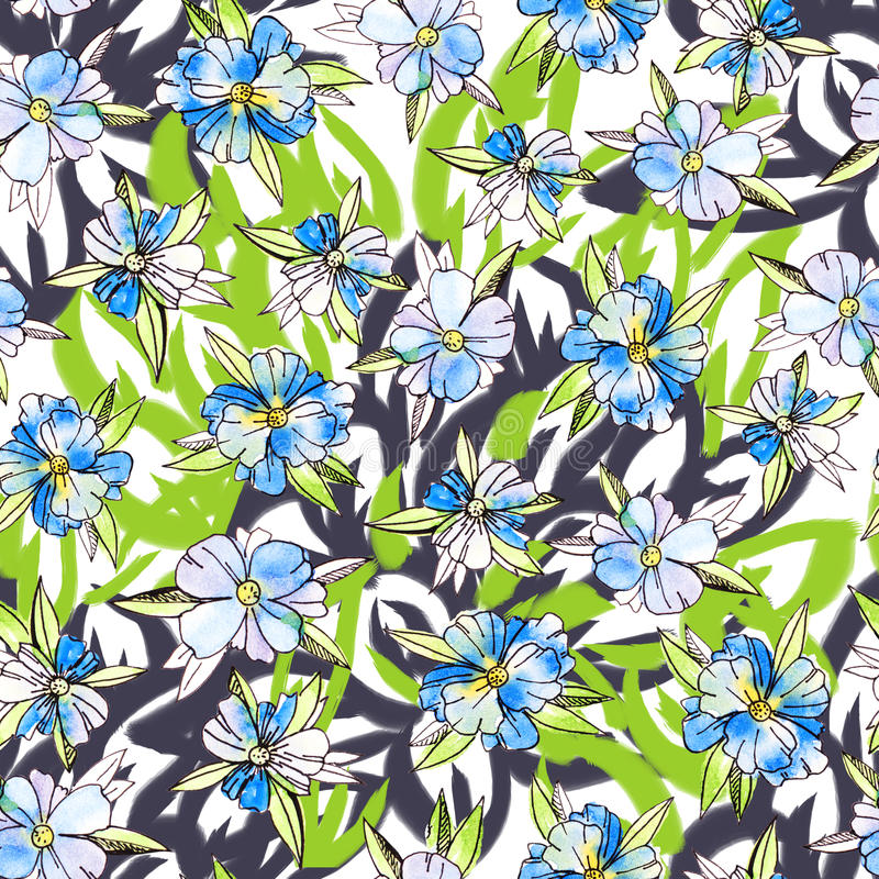 Watercolor floral botanical seamless pattern. Good for printing stock illustration