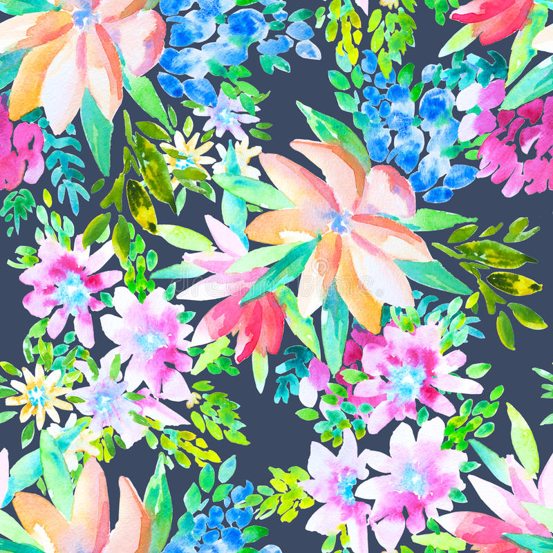 Watercolor floral botanical seamless pattern. Good for printing royalty free illustration