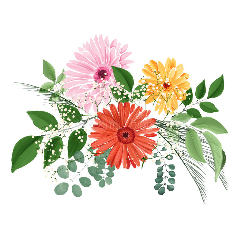 Watercolor Floral Bouquet With Gerberas And Leaves Stock ...