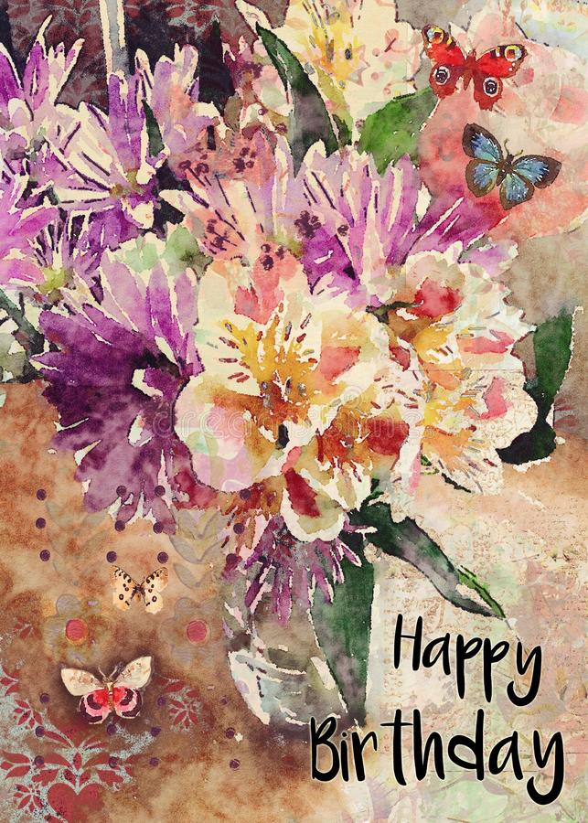Watercolor floral bouquet happy birthday greeting card stock illustration
