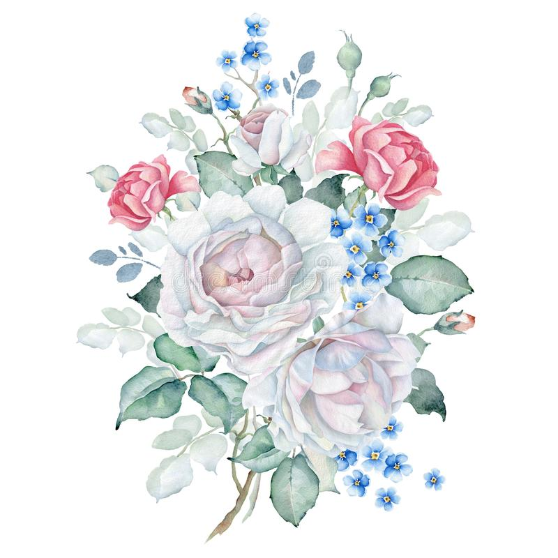 Watercolor Floral Bouquet with White and Pink Roses and Forget-me-not Flowers royalty free illustration