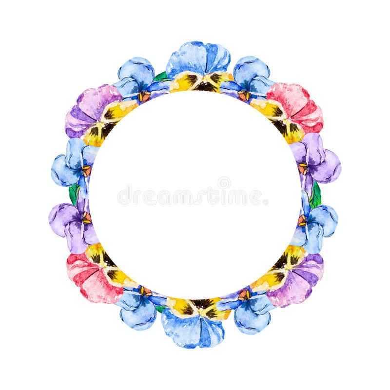 Watercolor floral bouquets of viola pansies of pink, violet, blue and yellow colors on a white background as circle frame. vector illustration