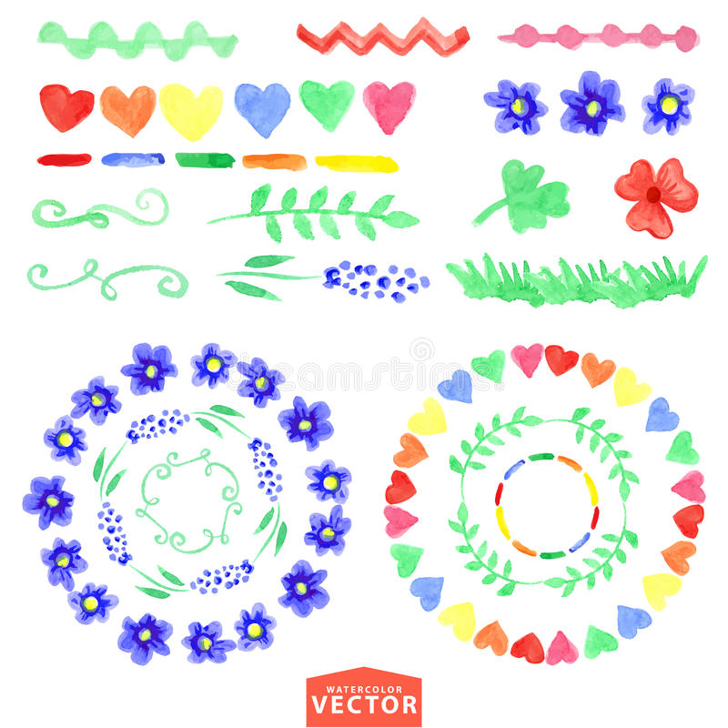 Watercolor floral brushes set.Baby style royalty free illustration