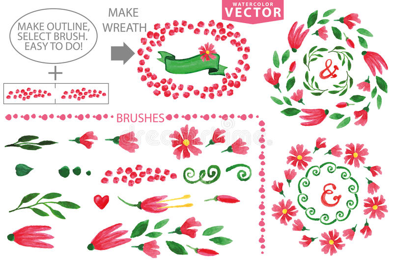 Watercolor floral brushes and wreath set.Vintage stock illustration