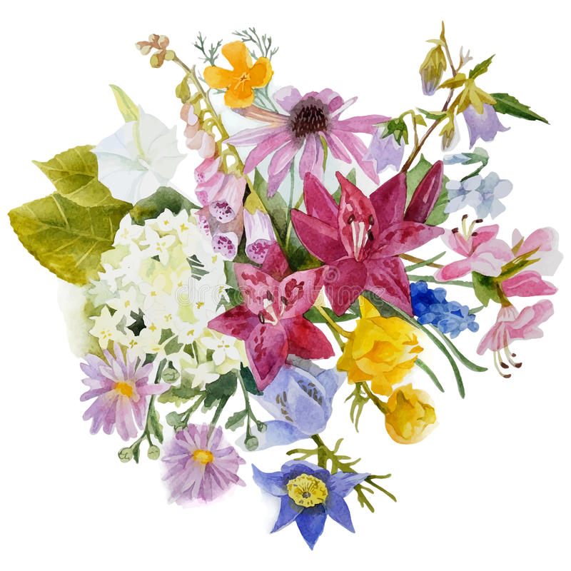 Watercolor floral card royalty free illustration