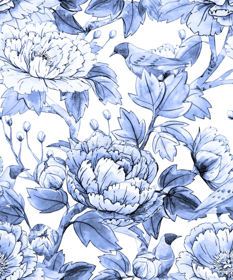 Watercolor floral chinese pattern. Beautiful pattern with watercolor flowers and birds in chinese style vector illustration
