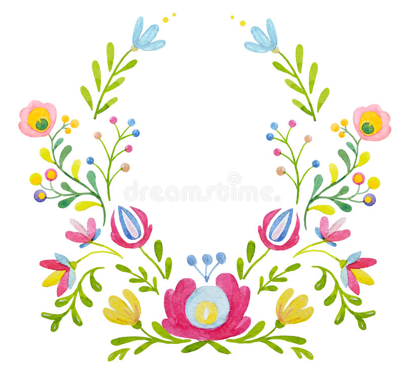 Watercolor floral composition stock illustration