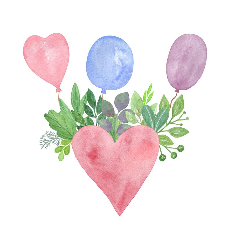 A watercolor floral composition with a big red heart, multicolored balloons and green leaves, simple seasonal ornament. Decor for love holiday, invitations or vector illustration