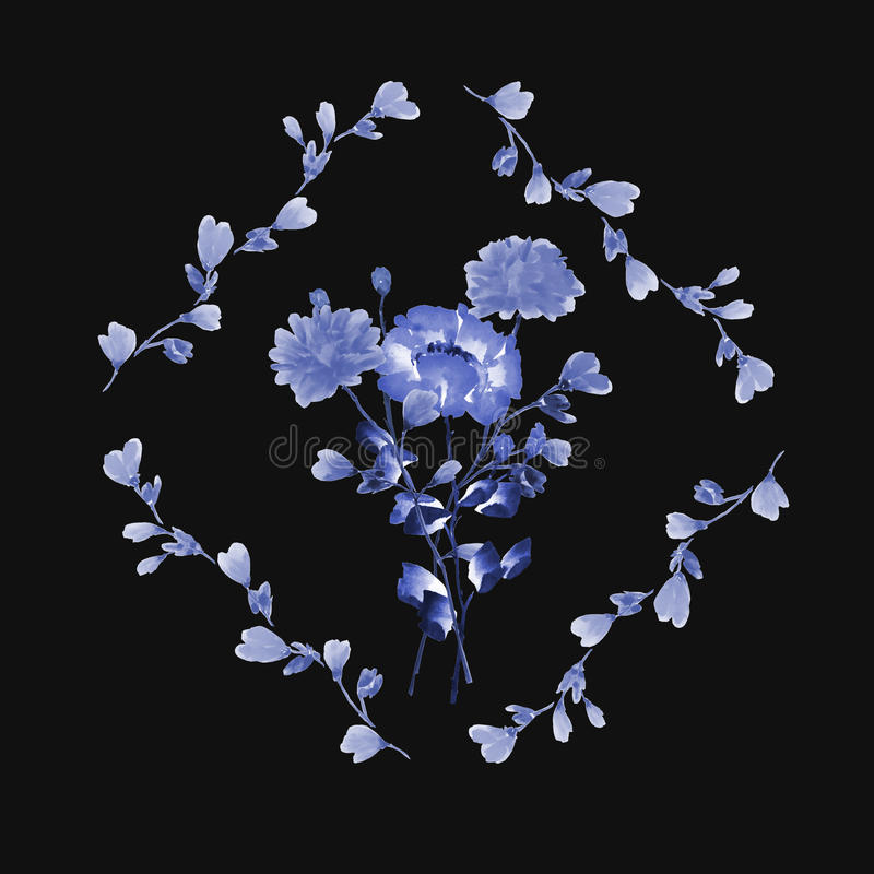 Watercolor floral decoration. Bouquet of blue flowers in frame of blue branches on the black background stock photos