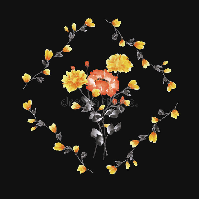 Watercolor floral decoration. Bouquet of yellow and red rose in frame of yellow branches on the black background stock photos