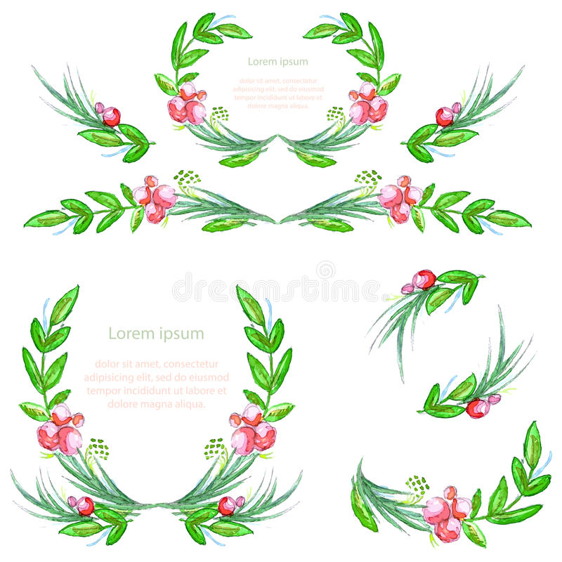 Watercolor floral design elements with leaves and berries. Brushes, borders, wreath,garland. Vector stock illustration