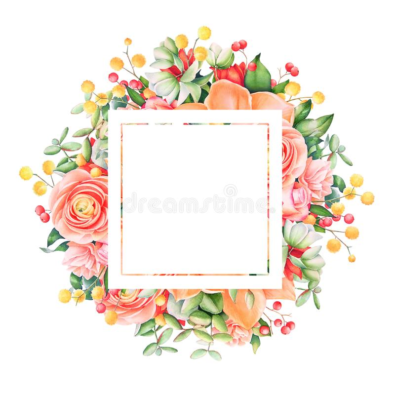 Watercolor floral frame with empty space. vector illustration