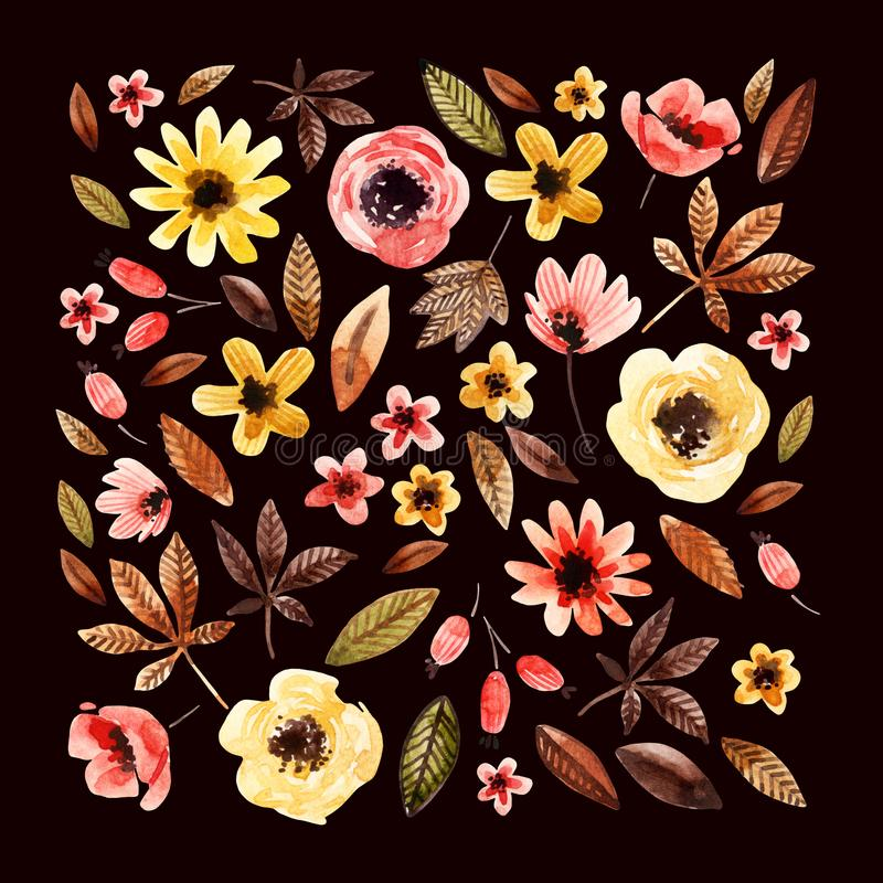 Watercolor floral elements square arranged on dark background. stock illustration