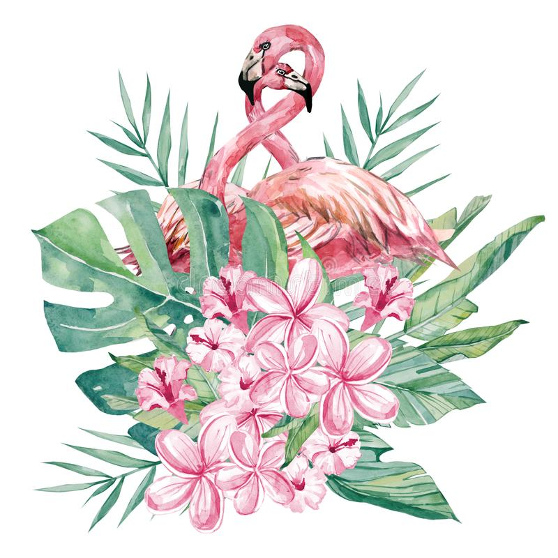 Watercolor floral flower and flamingo illustration. Bouquet with tropical green leaves and flowers for wedding stationary. Greeting cards, wallpapers, fashion vector illustration