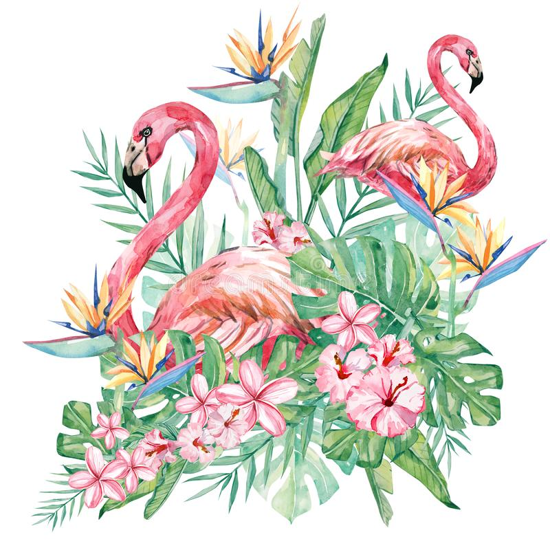Watercolor floral flower and flamingo illustration. Bouquet with tropical green leaves and flowers for wedding stationary. Greeting cards, wallpapers stock illustration
