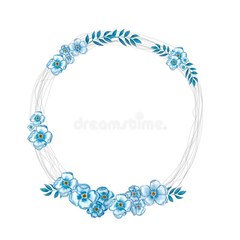 Watercolor floral frame. Background with delicate flowers.Watercolor floral frame with blue flowers. Perfect for wedding royalty free illustration