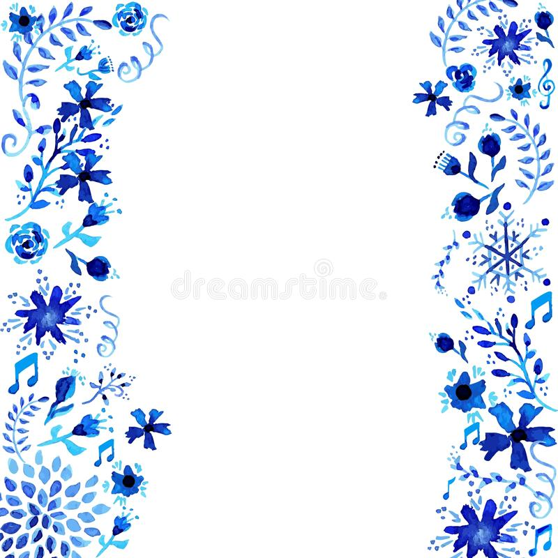 Watercolor floral frame background royalty free stock photos