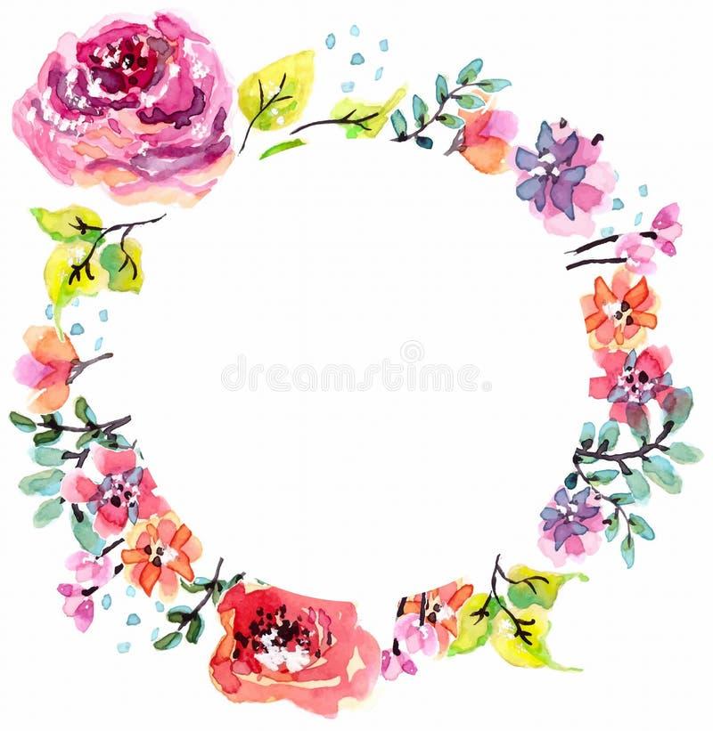 Watercolor floral frame stock vector. Illustration of bloom - 46012243