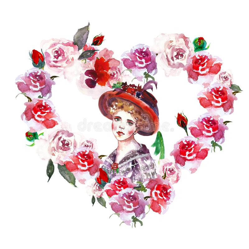 Watercolor floral frame border with beautiful woman portrait in vintage style. hand drawn illustration of heart wreath with red ro. Ses on white background. Best royalty free illustration