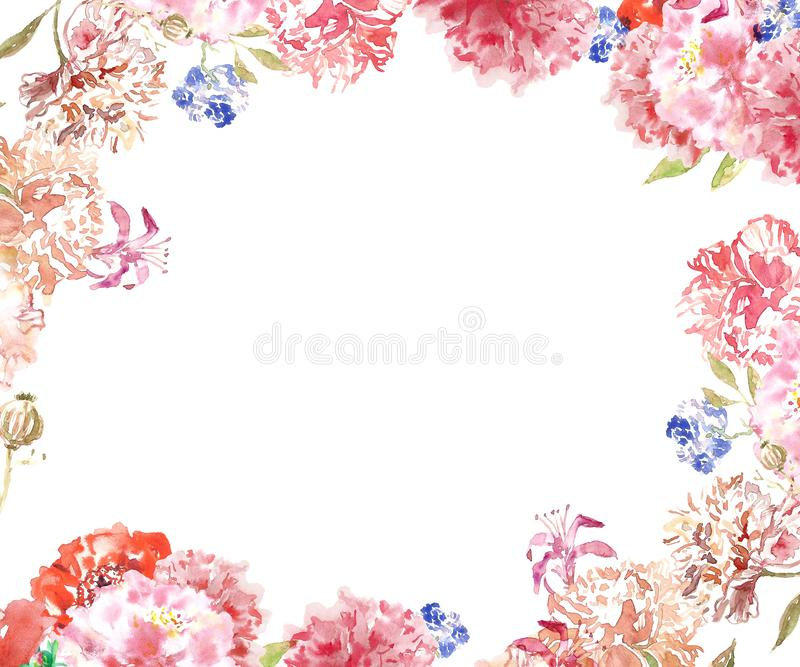 Watercolor floral frame border with delicate pink and beige peony flowers in shabby chic vintage style, on white background royalty free stock image