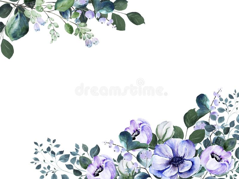 Watercolor floral frame with delicate purple anemone flowers and green twigs and blooming snowberry stock image