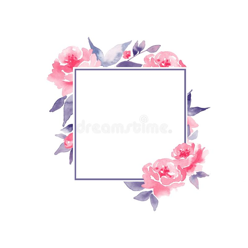 Watercolor floral frame. Element for design 2 stock illustration