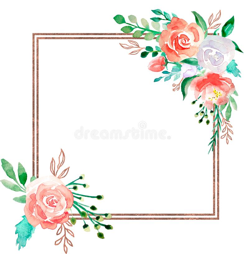 Watercolor floral frame with golden bronze border - flower illustration for wedding, anniversary, birthday, invitations, romantic royalty free illustration