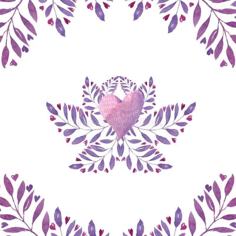 Watercolor floral frame stock illustration