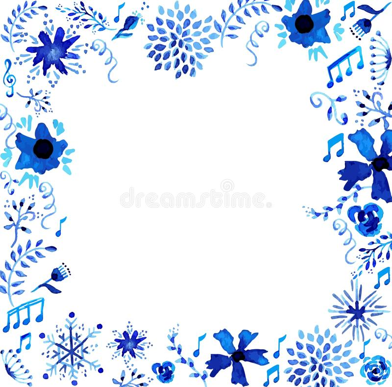 Watercolor floral frame illustration royalty free stock image
