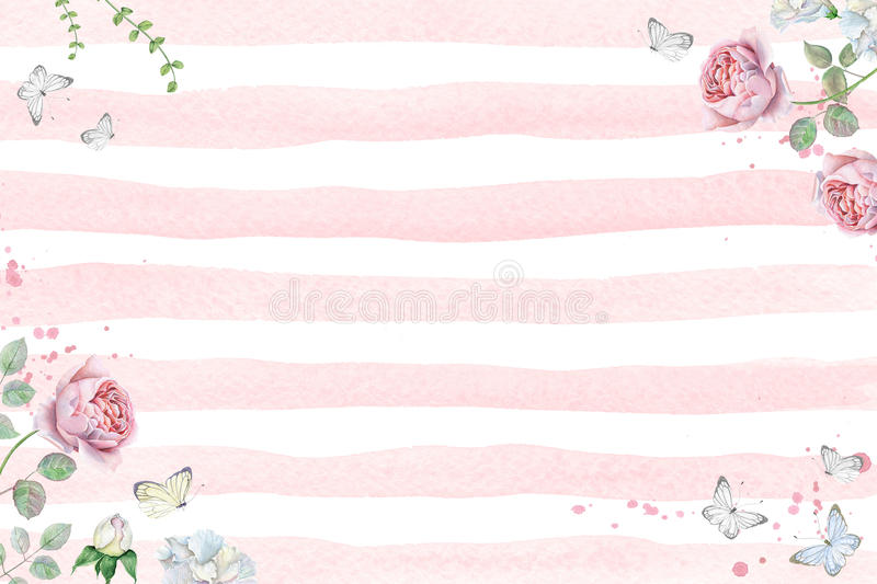 Watercolor floral frame with pink roses and butterflies. Hand drawn watercolor floral frame with pink roses and butterflies on pink stripe background royalty free illustration