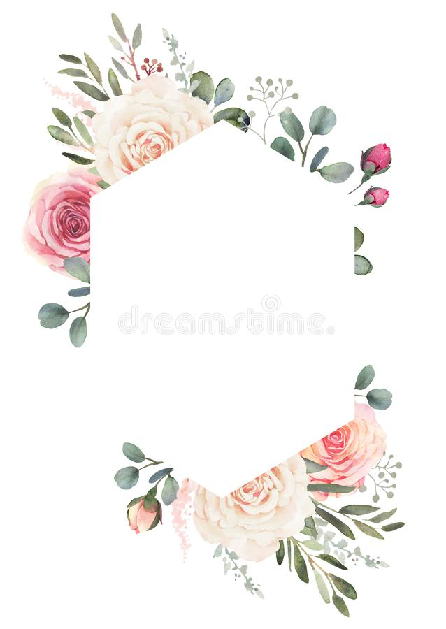 Watercolor floral frame with roses and eucalyptus vector illustration